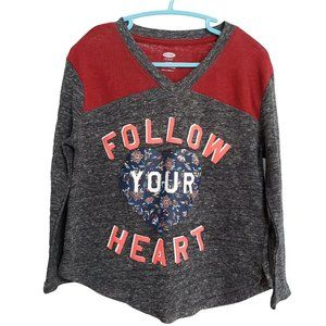 🍒3/20 OLD NAVY Gray Red Follow Your Heart Top XS